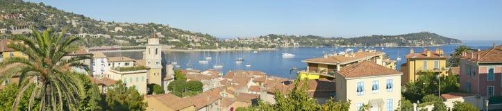 Sikt av Villefranche-sur-Mer, franska Riviera, Frankrike arkivbilder