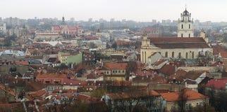 Sikt av Vilnius från över Arkivbild