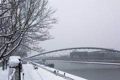 Sikt av Vistulaet River i det historiska centret Vistula är den längsta floden i Polen Arkivbilder