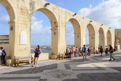Sikt av Vittoriosa från La Valletta på Malta Arkivbilder