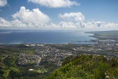 Sikt av Wailuku och Kahului från den Iao dalen, Maui, Hawaii, USA Arkivfoton