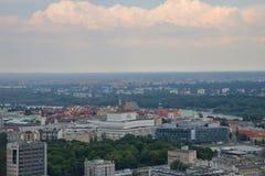 Sikt av Warszawa från slott av vetenskap och kultur, Polen, Europa fotografering för bildbyråer
