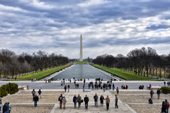 Sikt av Washington Monument från Abraham Lincoln Memorial Washington DC, USA Royaltyfria Foton