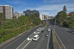 Sikt av Wellington Urban Motorway arkivbilder