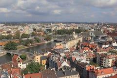 Sikt av Wroclaw poland Arkivbilder