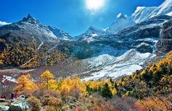 Sikt av Yading, Sichuan Arkivbild