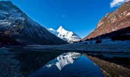 Sikt av Yading, Yunnan Arkivfoto