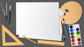 Sikt av yttersidan av skrivbordet med utvidgningen det som är konstnärligt, och brevpapper Stock Illustrationer