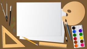 Sikt av yttersidan av skrivbordet med utvidgningen det som är konstnärligt, och brevpapper Design och kreativitet Bakgrund royaltyfri illustrationer