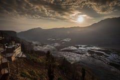 Sikt av Yuan Yang Rice terrasser Arkivfoton