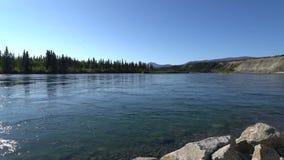 Sikt av Yukon River som flödar nära SS Klondike lager videofilmer