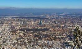 Sikt av Zurich från det Uetliberg berget - Schweiz Royaltyfri Fotografi