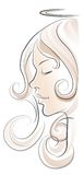 Sikt för ängelkvinnaprofil på vit bakgrund Arkivfoton