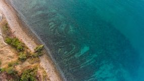 Sikt för öga för fågel` s av havskusten Arkivfoto