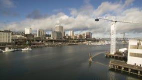Sikt för öga för fågel` s av Thea Foss Waterway i Tacoma Washington arkivbilder
