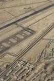Sikt för öga för fågel` s av den Ladakh flygplatsen Arkivbilder