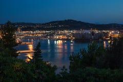 Sikt för Ancona hamnnatt Royaltyfria Foton