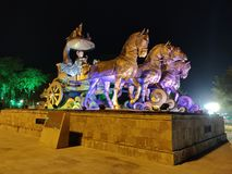 Sikt för Arjuna triumfvagnnatt arkivfoto