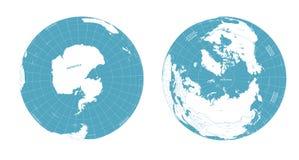 Sikt för arktisk och för antarctic för vektorjordjordklot vektor illustrationer