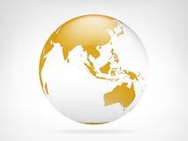 Sikt för Asien guld- planetbakgrund Arkivfoto