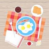 Sikt för bästa vinkel för mat för frukosttabell royaltyfri illustrationer