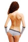 sikt för bakre kortslutningar för flickahandskar topless Fotografering för Bildbyråer