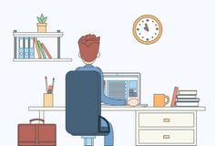 Sikt för baksida för bärbar dator för arbetsplats för kontor för skrivbord för sammanträde för affärsman bakre royaltyfri illustrationer