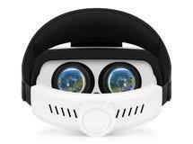 Sikt för baksida för VR-virtuell verklighethörlurar med mikrofon på vit bakgrund Royaltyfri Bild