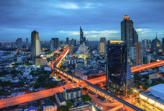 Sikt för Bangkok stadsnatt Arkivbilder