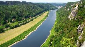 sikt för basteielbe germany flod Royaltyfri Bild