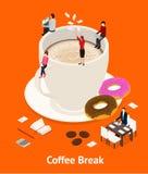 Sikt för begrepp 3d för kaffeavbrott isometrisk vektor Royaltyfria Foton
