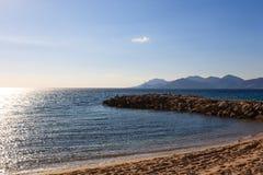 Sikt för Cannes stranddag, Frankrike Fotografering för Bildbyråer