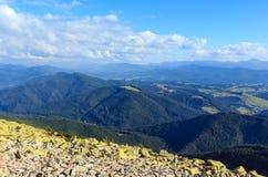 Sikt för Carpathian berg för sommar Arkivfoton