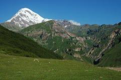 sikt för caucasus georgia kazbekmontering Royaltyfria Bilder