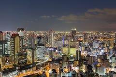 Sikt för central affär för Osaka stad i stadens centrum flyg- Royaltyfria Bilder