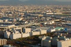Sikt för central affär för stad i stadens centrum flyg-, Osaka Arkivbilder