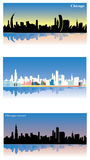 Sikt för Chicago affischstad i morgonen, eftermiddag, solnedgång Plan design, blick 3d, realistiskt som är minimalistic också vek stock illustrationer