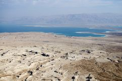 Sikt för dött hav från Masada Royaltyfria Foton