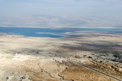 Sikt för dött hav från Masada Royaltyfri Fotografi