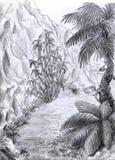 sikt för djungelvägvertical Arkivfoton