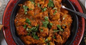 Sikt för dockaöverkant ner av en feg tikkamasala med indiska kryddor stock video