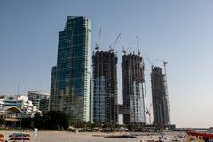 Sikt för Dubai marinastrand, Förenade Arabemiraten royaltyfri foto