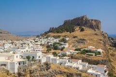 Sikt för en Lindos stad på Rhodes Island arkivfoton