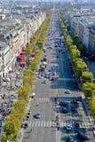 Sikt för fågelöga från Arc de Triomphe Paris Arkivbilder
