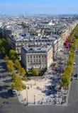 Sikt för fågelöga från Arc de Triomphe Paris Royaltyfri Foto