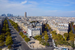 : Sikt för fågelöga från Arc de Triomphe Paris Fotografering för Bildbyråer