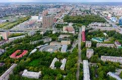 Sikt för fågelöga på den Tyumen staden Ryssland arkivfoton