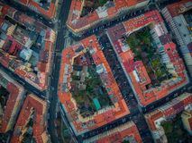 Sikt för fågel Prague för topdown surr vinohrady royaltyfri illustrationer