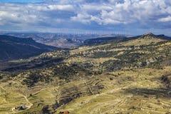 Sikt för flyg- sikt från slotten Morella, fotografering för bildbyråer