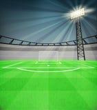 Sikt för fotbollskyttmål med den skinande reflektorn på nattvektorn Arkivbilder
